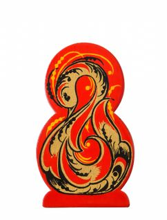 """Khokhloma painting / Wooden magnet """"March 8"""" bird"""