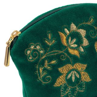 """Velvet cosmetic bag """"Spring mood"""" green with gold embroidery"""
