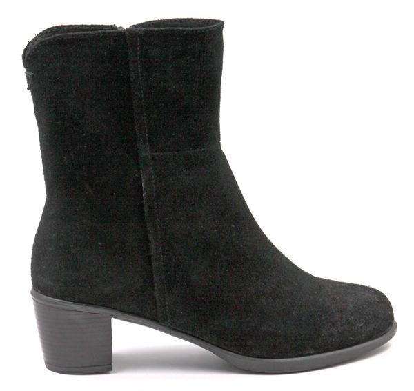 Ortomoda / Demi-season ankle boots made of natural nubuck, black, orthopedic women's shoes