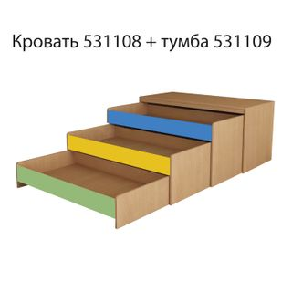 Children's bed three-tiered, 1480 x652 x720 mm, LDSP, beech bavaria/colored, plywood flooring