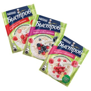 Oatmeal BYSTROV, assorted with milk (raspberries / wild berries / strawberries), 240 g (6 pcs. 40 g each)