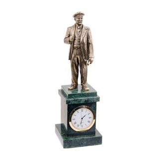 Clock with statue of Lenin on a pedestal