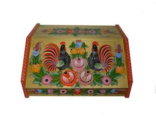 Gorodets painting / Painted wooden bread box