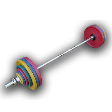 Hercules / Olympic barbell 182.5 kg, colored, euro-classic wheels