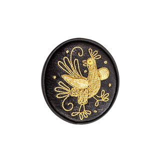 "Brooch ""Bird"" black with gold embroidery"