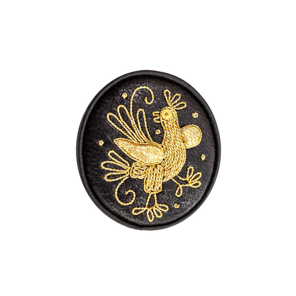 Brooch 'Bird' black with gold embroidery