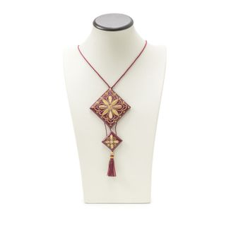 "Pendant ""Fan"" Burgundy with gold embroidery"