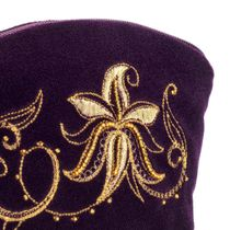 Velvet cosmetic bag 'Minuet' purple with gold embroidery