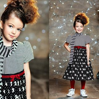 Striped Dress with Poodle