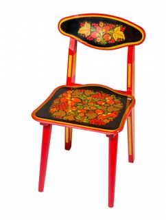 "Khokhloma painting / Children's folding wooden chair ""Khokhloma painting"", 2 height category"