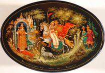 Kholuy art varnish miniature Ivan Tsarevich and the Gray Wolf