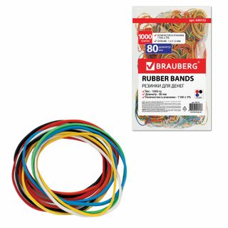 Universal bank rubber bands with a diameter of 80 mm, BRAUBERG 1000 g, colored, natural rubber