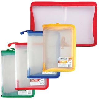 The zip folder plastic BRAUBERG, Diagonal, A5, 235х165 mm, transparent, lightning cuts