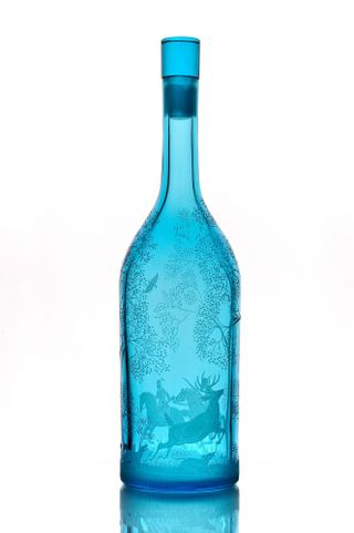 "Crystal bottle ""Deer hunting"" with engraving turquoise"