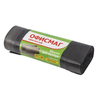 OFFISMAG / Garbage bags 30 L, ties, black, 30 pcs per roll, HDPE, 10 microns, 45x57 cm (± 5%), durable