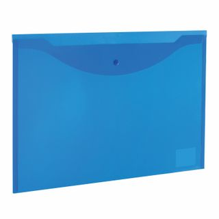 Folder-envelope with button LARGE FORMAT (300х430 mm), A3, transparent, blue, 0.15 mm, STAFF