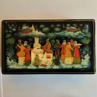 """Palekh / Box """"By the pike's command"""", 17 * 8 cm, master Morozov"""