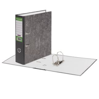 Folder-Registrar BUSINESSMAN, reinforced spine, marble cover, 80 mm, with corner, black