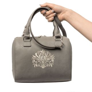 "Bag in eco-leather's ""Dreams"" grey with silver embroidery"