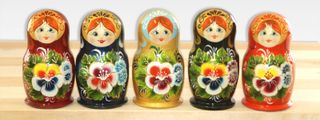 Matryoshka 5 seats Flower with a potaty- Souvenir