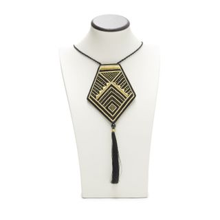 Pendant Afina in black with gold embroidery