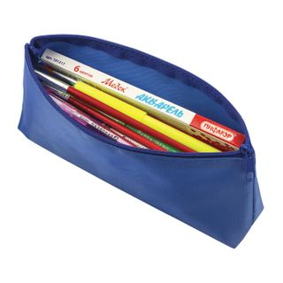 Pencil case-cosmetic bag PYTHAGORAS zipper, textile, blue, 19х4х9 cm