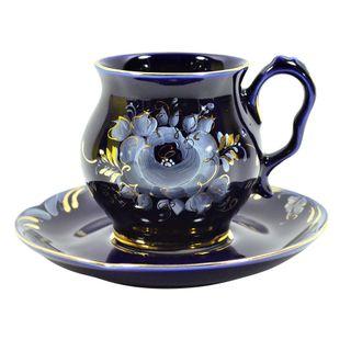 A couple of tea Rhapsody in Blue cobalt paint gold, Gzhel Porcelain factory