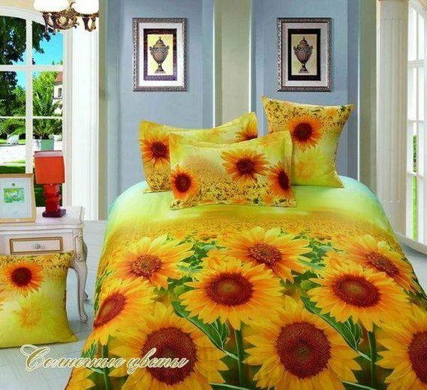 Satin bed linen 3D sun flowers