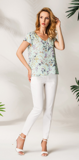 Blouse with mint floral print