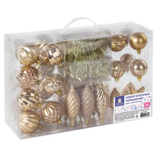 Golden fairy tale / Set of decorations for the fir-tree 39 items, golden color