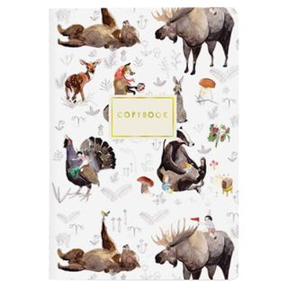 """Notebook EURO A5 40 sheets BRUNO VISCONTI stitching, cage, Soft Touch, foil, beige paper 70 g / m2, """"FOREST ANIMALS"""""""