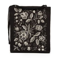 Bag 'Silver bouquet' in black with silver embroidery