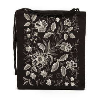 """Bag """"Silver bouquet"""" in black with silver embroidery"""
