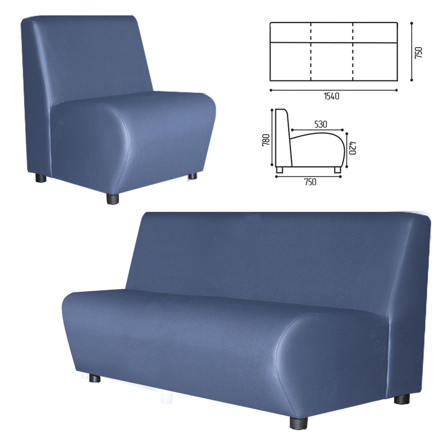 """GARTLEX / Sofa soft three-seater """"Cloud"""", """"V-600"""", 1540x750x780 mm, without armrests, eco-leather, blue"""