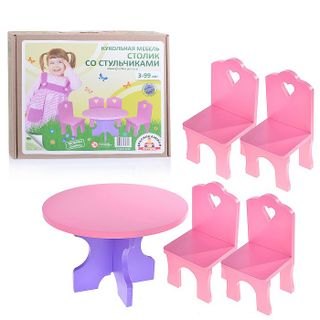 """Krasnokamsk toy / Doll furniture """"Table + 4 chairs (wooden)"""""""