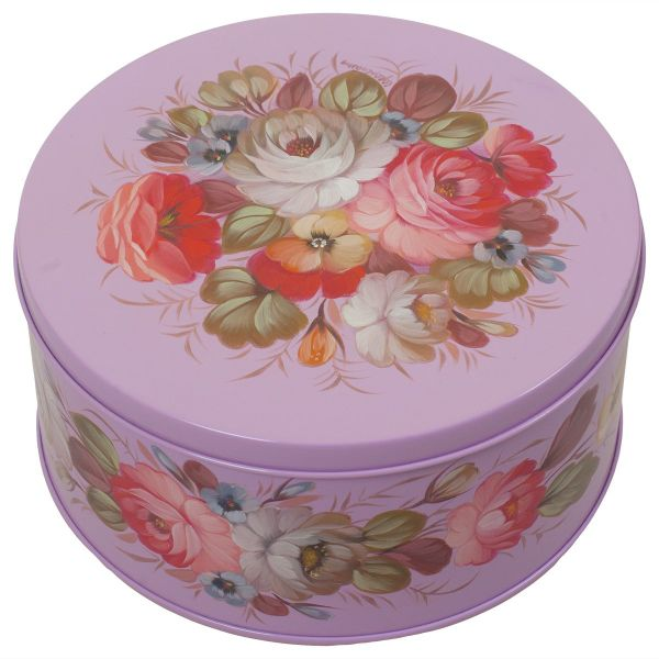 Zhostovo / Round medium tin can, author Solomatina N. 15x15x10 cm