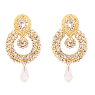 Touchstone Indian Paisley Moon Chaand White Rhinestone Traditional Designer Jewelry Earrings In Antique Gold Tone For Women