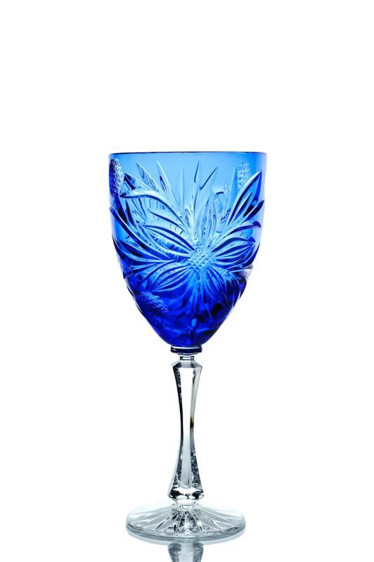 A set of crystal wine glasses cornflower blue 6 pieces