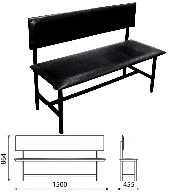 "COMFORUM / Bench with back ""Berta"" 1500x455x864 mm, reinforced, black frame, black leatherette"