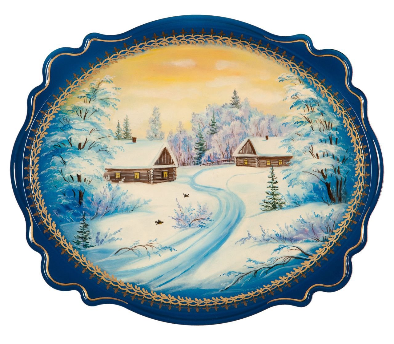 """Souvenirs from N. Tagil / Tray """"Subject painting. Winter village"""", 30x25 cm"""