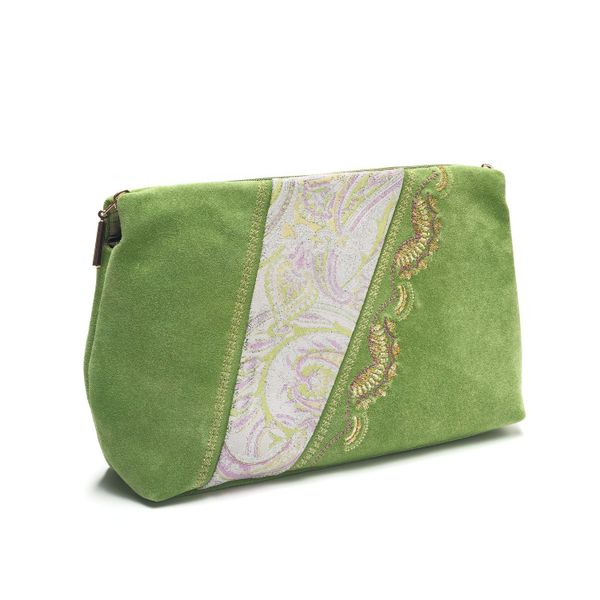 Suede cosmetic bag Voskhod green with gold embroidery