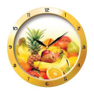 Wall clock TROYKA 11150157, round, white with a pattern of Fruit, yellow frame, 29х29х3,5 cm