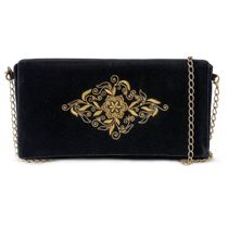Velvet clutch 'Celebration' of black color with Golden embroidery