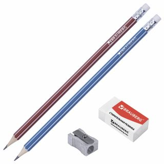 BRAUBERG set: 2 pencil, eraser, sharpener in blister
