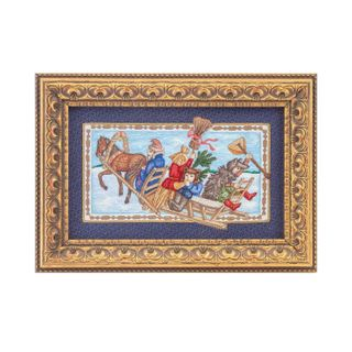 """Panel """"a Christmas Carol"""" blue with gold embroidery"""