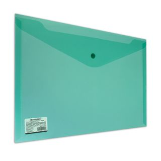 Folder-envelope with button BRAUBERG, A4, 100 sheets, transparent, green, heavy-duty, 0.18 mm