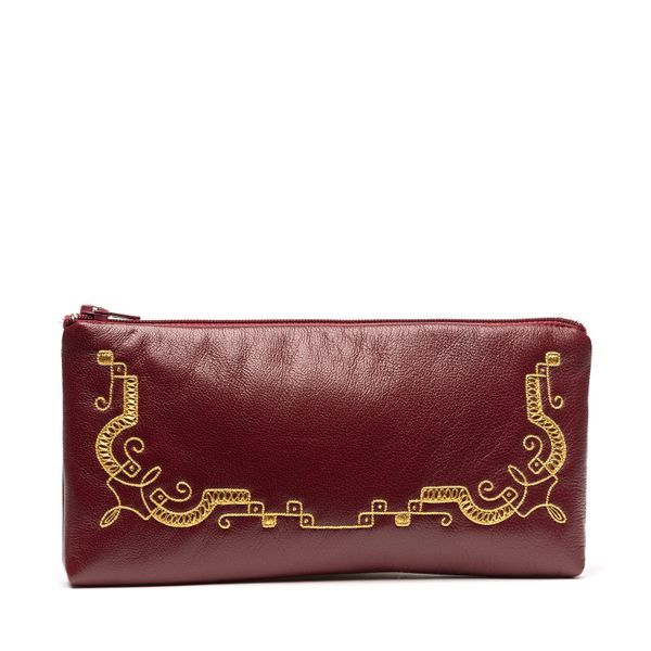Leather case red burgundy