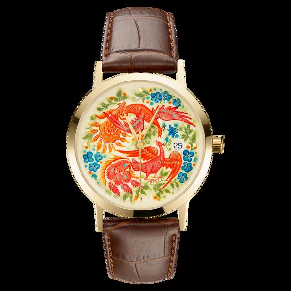 """Palekh watch """"Firebird №36"""" quartz, hand-painted, artist Smirnov, braun band"""