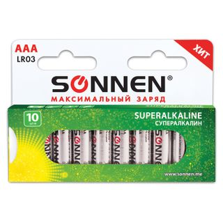 SONNEN / Batteries Super Alkaline, AAA (LR03, 24A), alkaline, little fingers, box, KIT 10 pcs.