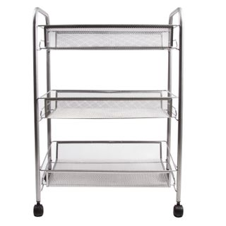 BRABIX / Office and household shelf (trolley) 3 tiers, on wheels, metal, silver, 43.5x26x62.5 cm